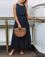 Fashion Polka Dot Button Women's Dress Maxi Dress