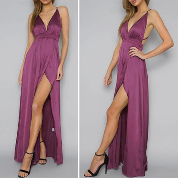 Women Sexy Party Maxi Solid Color Dress