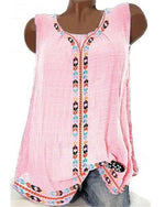 Round Neck Patchwork Vintage Sleeveless T-Shirt