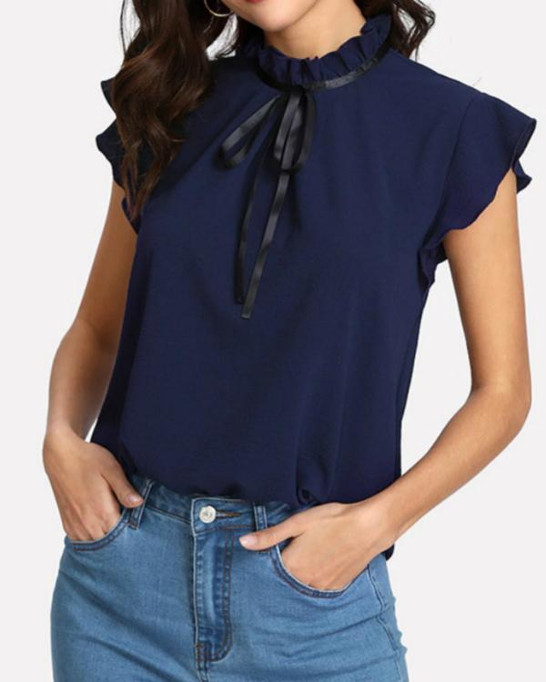 Women Fashion Solid Short Sleeve O-Neck Casual Bow Tie  Blouse Tops
