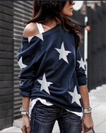 One Shoulder Star Printed Fall Loose  Daily Pullover Tops