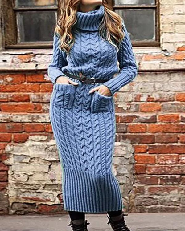 Turtleneck Shift Date Casual Dresses