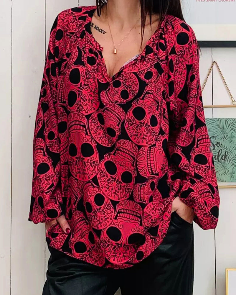 V Neck Skull Print Halloween Fall Fashion Casual Daily Women Blouse