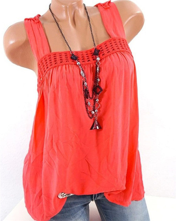 Racerback Lace Sleeveless Blouses Tank Tops