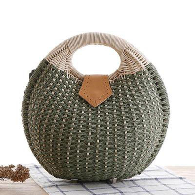 Ladies Sweet Lovely ShellL Shape Tote Bag Beach Straw Handbag