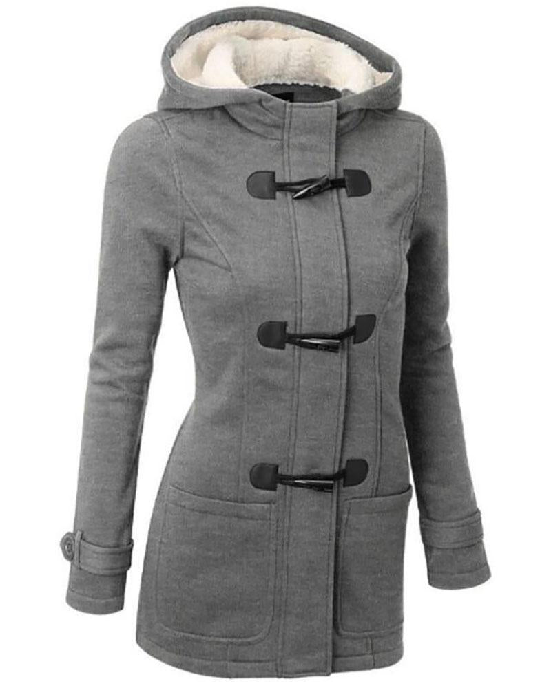 Hoodie Buttoned Long Sleeve Casual Coat
