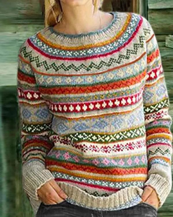 Color-Block Crew Neck Long Sleeve Geometric Sweater