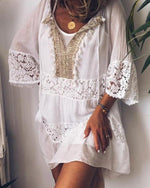 Casual Lace Solid Short Sleeve V Neck Mini Shirt Dress