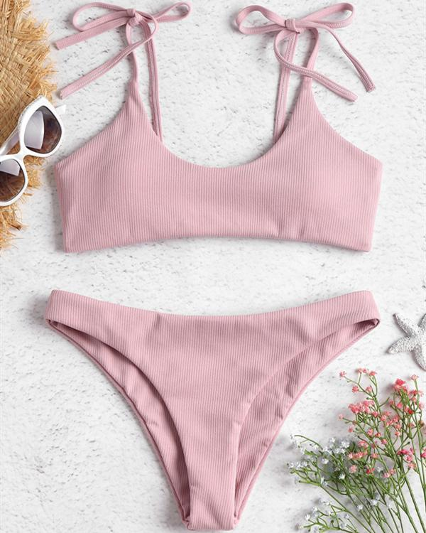 Cute Women Pure Color Lace-Up Bikini Swimsuits
