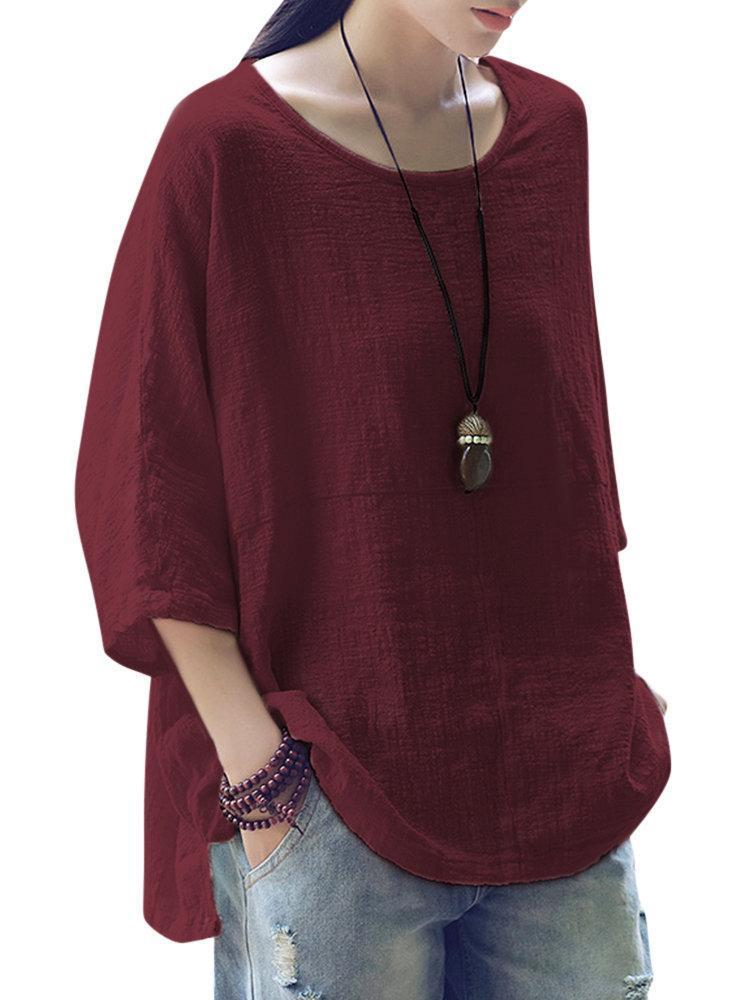 Plus Size Vintage Loose Pure Color 3/4 Sleeves Women's Shirts Tops