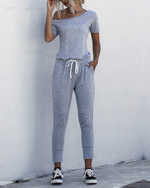 Asymmetric Neck Drawstring Waist Jumpsuit