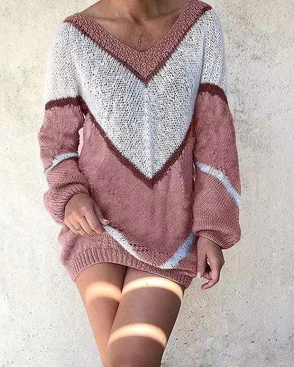 Women V-Neck Casual Long Sleeve Loose Fit Multi-color Leisure Contrast Sweater