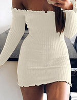 Women's Off Shoulder Going out Mini Bodycon Sheath Dress