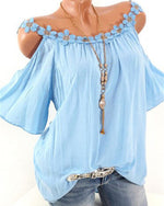 Open Shoulder Patchwork Plain Blouses