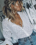 Fashion V-Neck Long Sleeve Casual Shirts Blouses