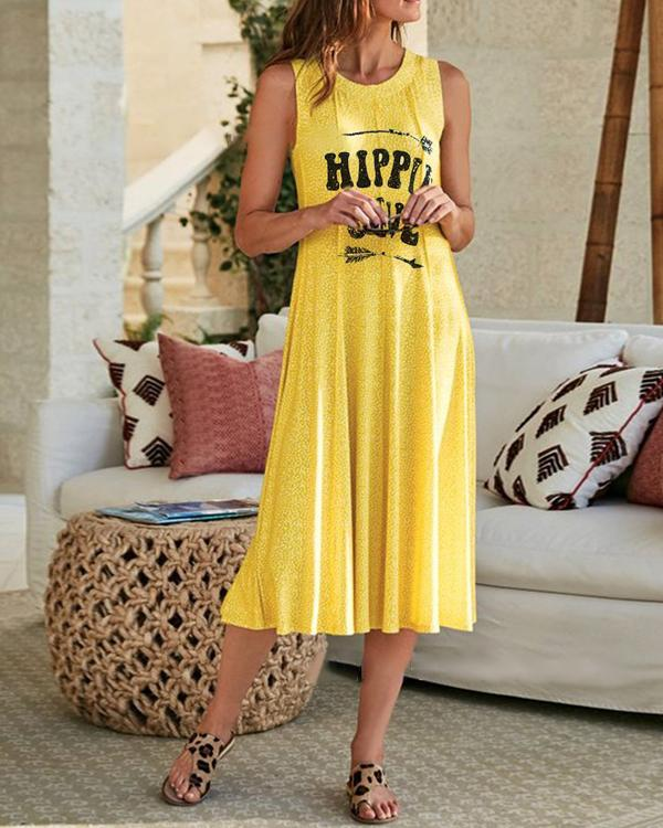 Sleeveless Asymmetric Letter Printed Casual Dresses