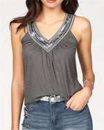 Solid V Neck Printed Sleeveless T-shirts Vest Tops