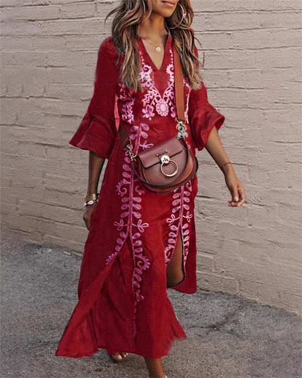 Bohemian V Neck Holiday Dresses Shift Daytime Maxi Dresses
