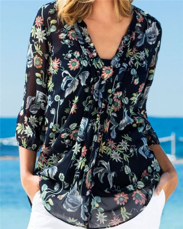 V Neck Floral Printed Boho Casual Holiday Summer Women Daily Tops