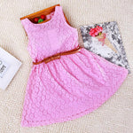 Kids Girls' Sweet Daily Solid Colored Lace Sleeveless Dress