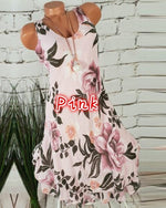 Summer Crew Neck Floral Printed Sleeveless Plus Size Dress