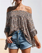 Leopard Off Shoulder Women Daily Shift Holiday Casual Blouse