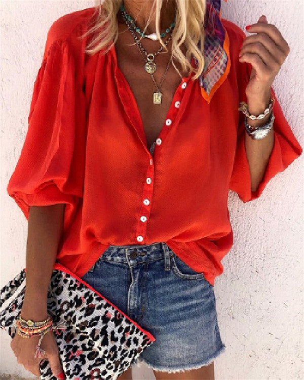 Red Boho Casual Holiday Summer Women Daily Tops