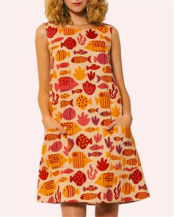 Casual Sleeveless Fish Printed Vacation Dress