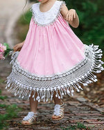 Kids Girls' Sweet Daily Solid Colored Tassel Sleeveless Midi Dress