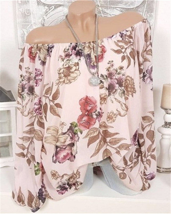 Off Shoulder Summer Casual Floral Print Long Sleeve Blouses