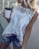 Summer Hollow Out Lace  Women Sexy Sleeveless Blouse Tops
