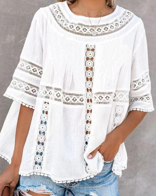 Crew Neck Short Sleeve Solid Lace Shirts Tops