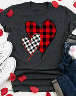 Valentine Plaid Splicing Heart O-Neck T-Shirt Tee