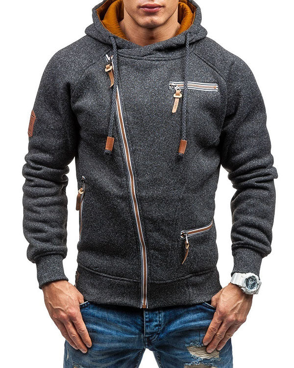 Mens Casual Zipper Up Design Sweatshirts Drawstring Hooded Cotton Hoodies for Men