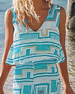 Bohemian V Neck Printed See-Through Sleeveless Plus Size Summer Dress