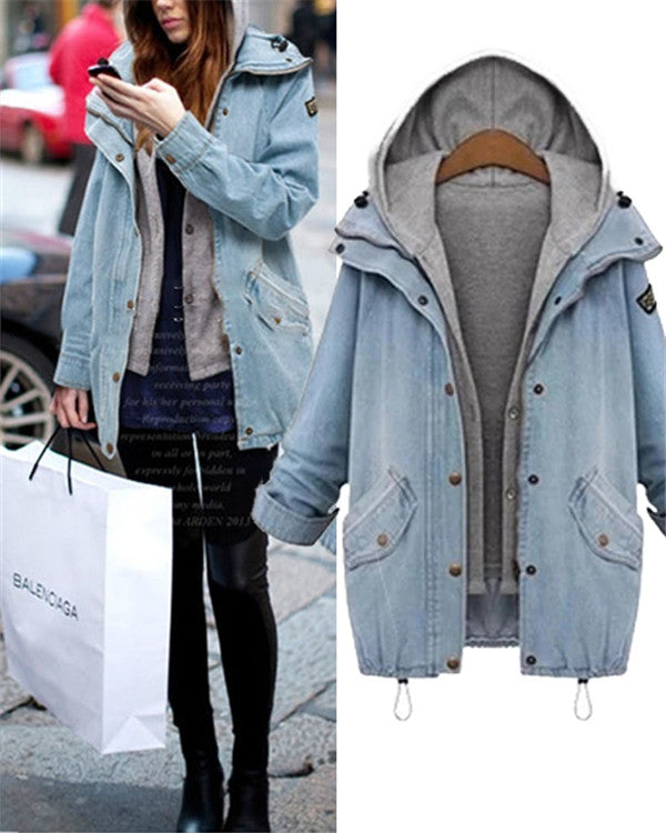 Two-Piece Denim Oversized Warm Coat For Women