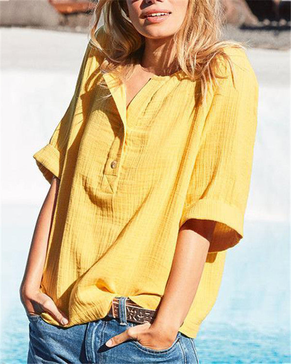 Half Sleeve Summer Solid Women  Casual V Neck Holiday Tops