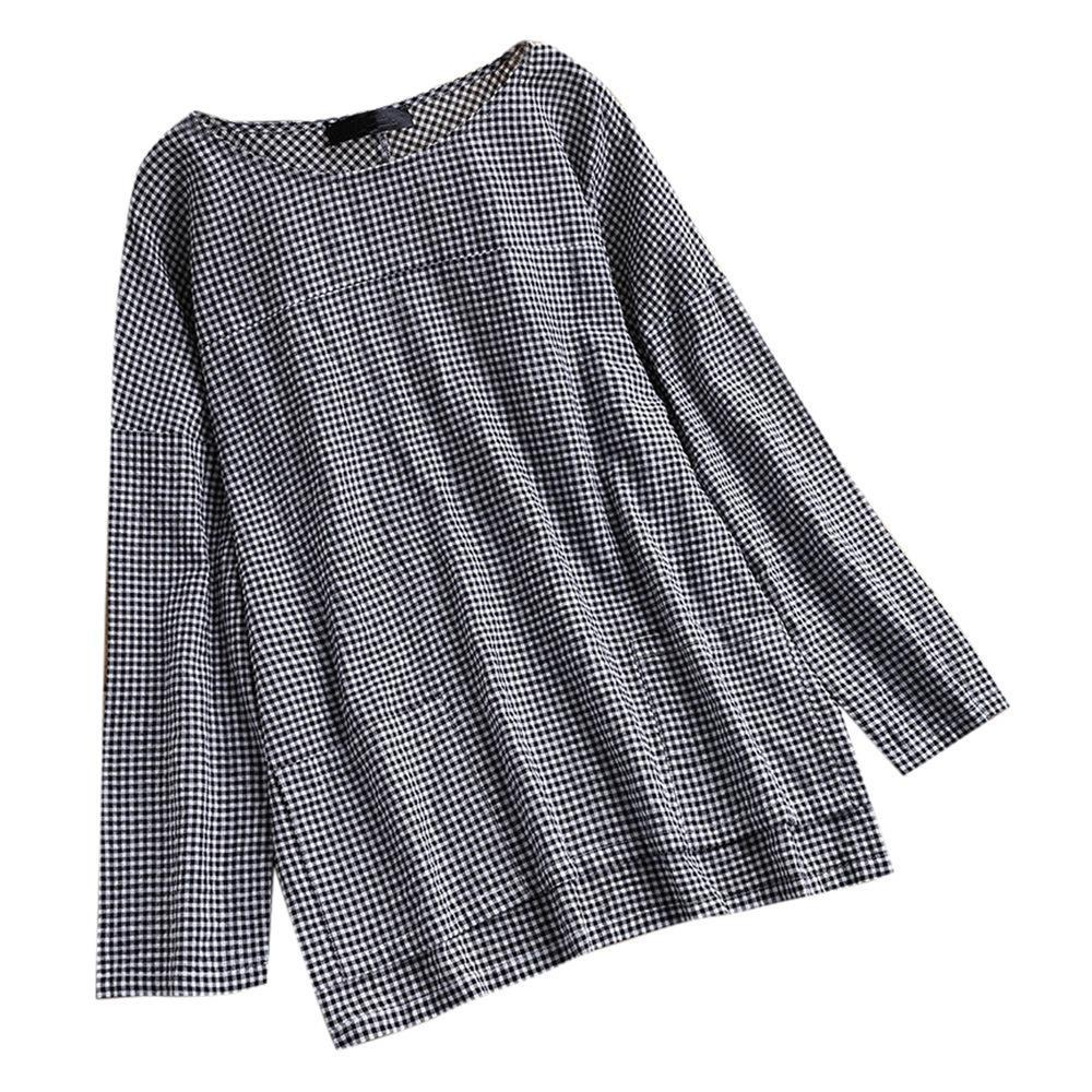 Women Long Sleeve Cotton  Paneled Checkered Plaid Casual Blouses Tops
