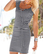 Sleeveless Striped Women Summer Casual Holiday Mini Dress