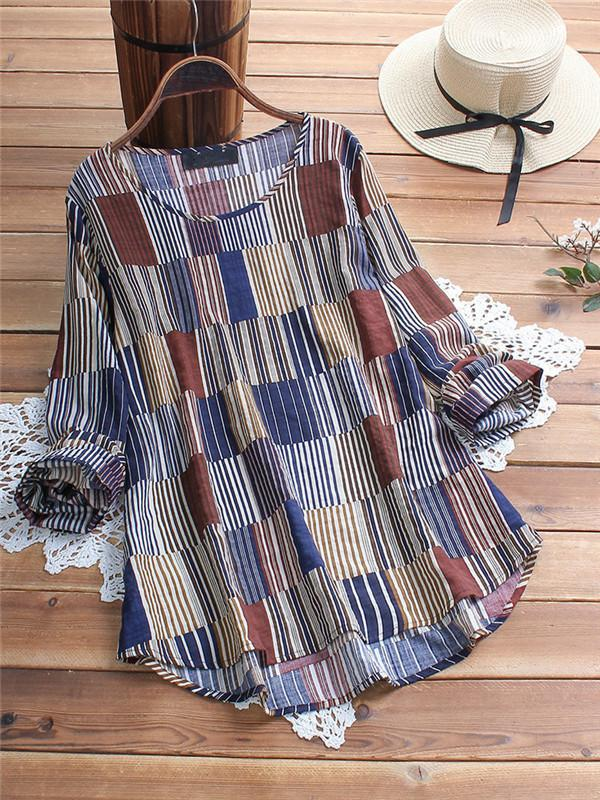 Vintage Print Striped Irregular Long Sleeve Plus Size Blouse