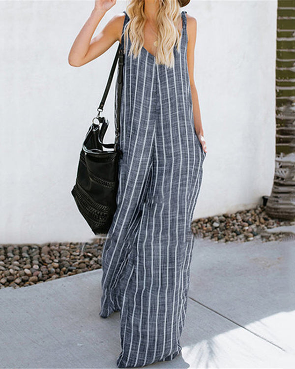 Pockets Loose Striped Jumpsuits