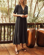 V Neck Casual Solid Midi Dress