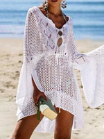 Cutout Woven Beach Solid Swimwear Cover Ups