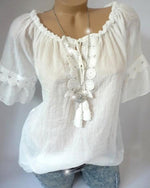 Women's Short Sleeve Lace Splice Plus Size Blouses Tops