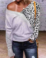 Leopard Paneled Knitted Sweaters