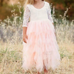 Kids Girls' Basic Daily Solid Colored Long Sleeve Lace Patchwork Dress