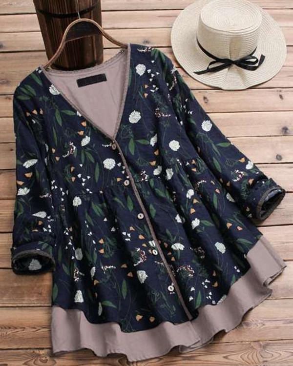 Layered Floral Print Patchwork Long Sleeve Vintage Blouse
