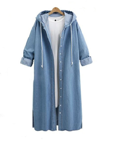 Denim Hoodie Women Solid Longs Fashionable Outwear Coat