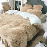 4Pcs Warm Coral  Fleece Shearling Bedding Set Sheet Cover Pillowcase