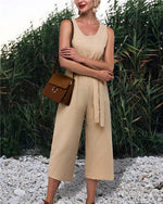 Khaki Casual Sleeveless Solid Jumpsuit